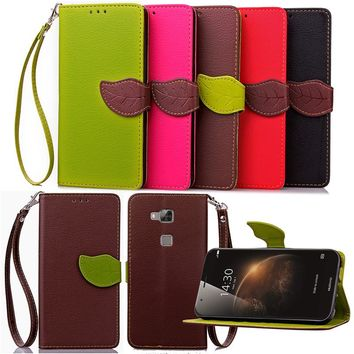 For Huawei G6 G7 G8 Luxury Leather Cover Flip Wallet Phone Case With Leaves Buckle And Lanyard Mobile Phone Shell