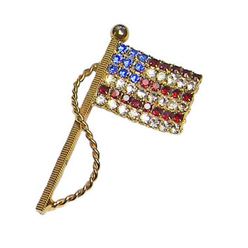 American Flag Brooch Patriotic USA Red White Blue Rhinestone Stars and Stripes
