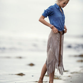 Exclusive for Intermix Asymmetric Suede Fringe Skirt at INTERMIX | Shop Now | Shop IntermixOnline.com