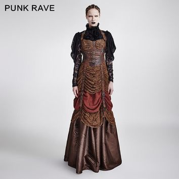 Punk Rave Punk Rave women's brown steampunk full length sleeveless evening corset dress BRAND QUALITY Q295