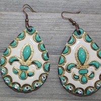 Sinner and Saints Clay Earrings in Cream and Turquoise