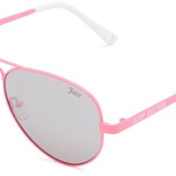 Juicy Couture Women's Heritage Aviator Sunglasses,Pink Frame/Silver Mirror Gradient Lens,one size