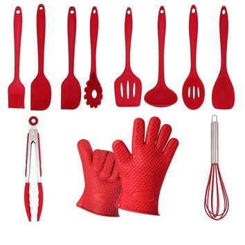 Hot 11pcs/set New Silicone Cookware Set Non-stick Pan Cooking Tools with Silicone Gloves Multi-functional Kitchen Cooking Tools