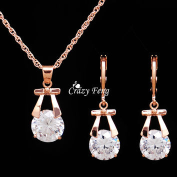 Hot Sale Wedding Jewelry Sets 18K Gold Plated Drop Earrings Necklace For Women Party Set CZ Diamond Crystal Jewelry