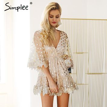 Simplee Dot sequined mesh flare sleeve backless mini dress V neck sexy dress embroidery High wasit tie up party dress women 2018