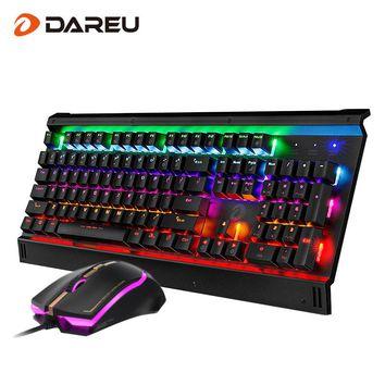 Dareu EK812T LED Backlight Gaming Mechanical Keyboard Mouse Combos USB Wired Full Key Professional Mouse Keyboard For Game PC