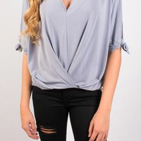 Babes in Bows Blouse - Blue Grey