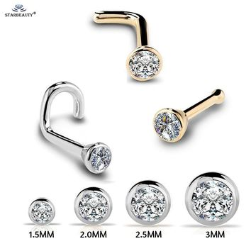 1Pc 20G 1.5/2/2.5/3mm Zircon Gem Bone Nose Stud Piercing Earring Anodized Rose gold Color Nose Ring Prong CZ Nose Jewelry 20g