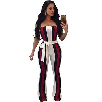 White Striped Jumpsuits With Sashes Fall  Fashion Sleeveless Strapless Off Shoulder Rompers Women Jumpsuit Overalls