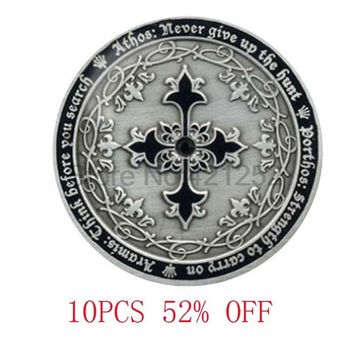 Assassin's Creed Four Musketeers cross eocoin medallion inspired pendant necklace keyring bookmark cufflink  earring