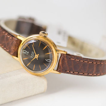 Tiny woman's watch, water protected lady watch, gold plated watch Glory, black face watch gift, shockproof watch, premium leather strap new
