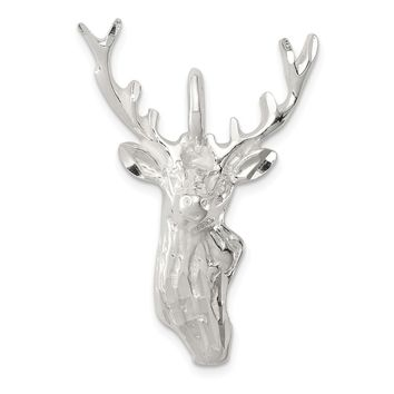 925 Sterling Silver Diamond Cut Deer Head Shaped Pendant