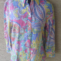 Ralph Lauren Chaps linen and cotton  blouse button front floral long sleeves size medium yellow green pink blue floral