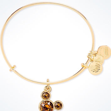 Disney Alex and Ani Mickey Mouse Birthstone Bangle November Gold Finish New