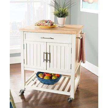 Rolling Kitchen Wood Island Butcher Block with Storage Drawer, Shelf, Furniture Cart with Towel Bar