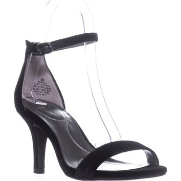 Bandolino Madia Ankle Strap Peep Toe Sandals, Black2, 11 US