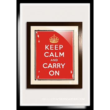 Gilded 18k Gold Keep Calm And Carry On Vintage Expression Artwork