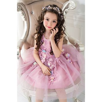 Princess Girl Dresses for Wedding and Party Kids Costume Purple Sleeveless Floral for Girls