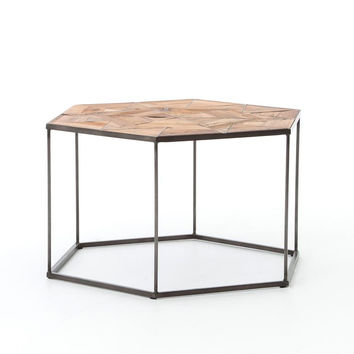Bronson Large End Table-Antique Bleach Sealed, Waxed Black