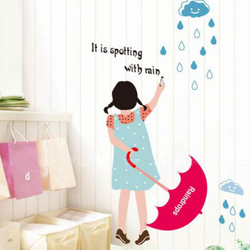 The little girl children bedroom adornment wall stickers in the background The third generation of removable wall stickers SM6