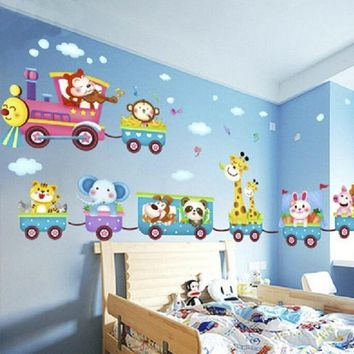Hot sale Jungle  Animals Train Wall Stickers Nursery Decor Baby Kids Art Mural Removable