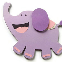 Lavender Elephant Card - Elephant Shaped Card - Animal Shaped Card - Kids Card - Birthday Card - Paper Elephant