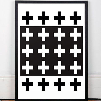 Swiss cross art, Crosses poster, Cross art print, Modern art, Minimalist poster, Scandinavian poster, Home decor, Swiss cross print, A3 art