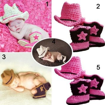Cowboy up with this Cute Crochet Cowboy or Cowgirl Hat Getup + Boots