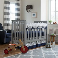Navy and Gray Elephants Rail Cover - Sold Separately