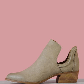 Split Shaft Almond Toe Bootie | MakeMeChic.COM