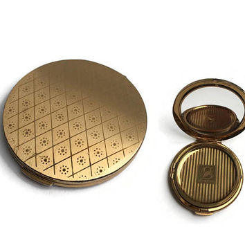 Gold Stratton Compact | 1950's Compact | Vintage Compact | Loose Face Powder Compact | Gold Tone Metal | Compact In Hand