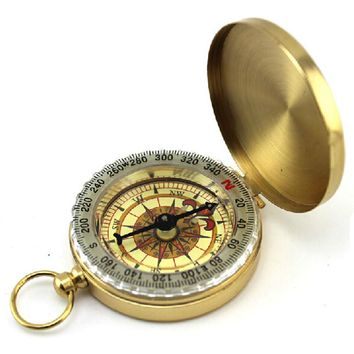 Good Quality Classic Pocket  Watch Style Outdoor Camping Hiking Navigation Brass Compass Ring Keychain Luminous Display