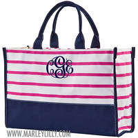 Monogrammed Pink and Navy Vivera Tote | Tote Bags | Marley Lilly