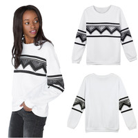 Black and White Geometric Print Sweatshirt