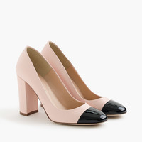 Lena leather pumps with patent cap toe