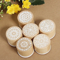 6pcs Round Wooden Assorted Retro Vintage Floral Pattern Rubber Stamp Scrapbook Z