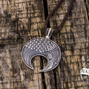 Handmade Lunula Pendant Sterling Silver Necklace Pagan Jewelry