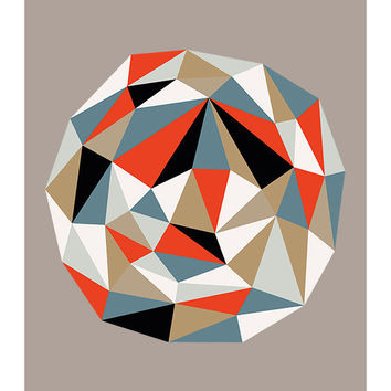"Original Art Print, ""Geode, Too,"" 11x14, Geometric, Facets, Triangles"