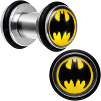 4 Gauge Stainless Steel Barbell Illusion Batman Mini Ear Plug Set