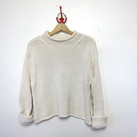 25% OFF STOREWIDE vintage white cropped sweater. slouchy sweater. cotton knit sweater.