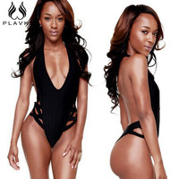 Solid Black Bandage Bathing Suit High Waist Cut Swim Thong Trikini