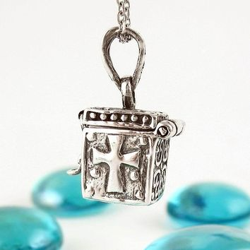 Christian Prayer Box Necklace With Cross, Ichthys and Hearts