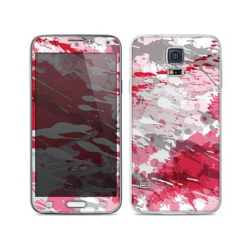 The Abstract Red, Pink and White Paint Splatter Skin For the Samsung Galaxy S5