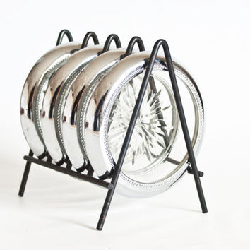 Mid Century Chrome Glass Coaster Set with Black Metal Rack Holder, Vintage 1960s Barware