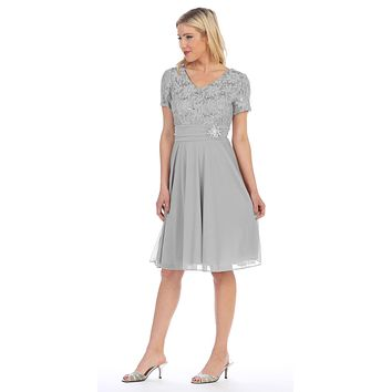 Celavie 6320 - Knee Length Silver Dress With Short Sleeves Lace Bodice