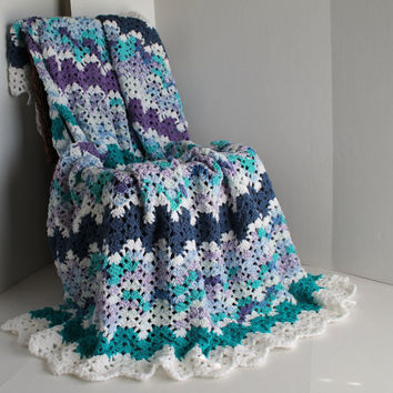 Afghan  Lacy Ripple  Teal White Purple and Blue by SnugableTouches