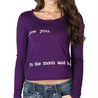 Long Sleeve Crop Top with I Love You To The Moon And Back Screen