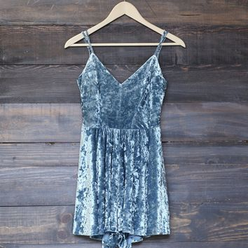 crushed velvet romper - dusty blue