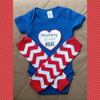 Mother's Day Onesuit - Mommy is our BAE - Funny Infant Onesuit - Photo Prop - Chevron - First Mother's Day - Baby Boy Baby Girl - Mom Birthday
