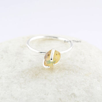 Ethiopian Opal Ring-6 mm Raw Cut Ring-Sterling Silver Ring-Handmade Ring Jewelry-Birthday Gif